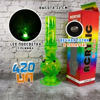 Акриловый бонг 32 см Glow Салатовый с Led подсветкой для курения