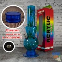 Акриловый Бонг для курения 32 см Синий с  листьями марихуаны