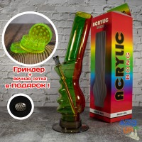 Акриловый бонг фигурный 32 см для курения травки Разноцветный