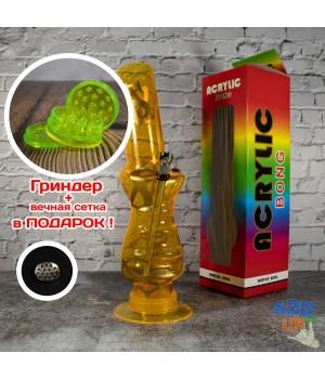 Акриловый бонг под руку 32 см для курения сухого желтый с долларом