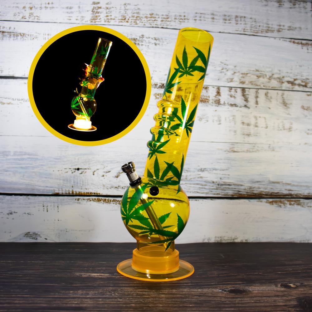Бонг из акрила с подсветкой 32 см Желтый цвет