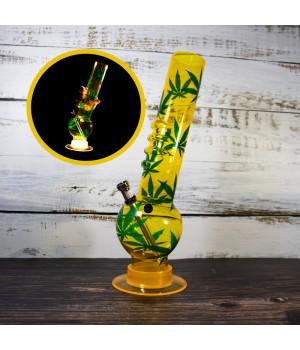 Бонг с подсветкой курительный из акрила высотой 32 см Желтый цвет