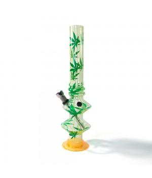 Водный бонг акриловый для курения Дабл 27см украшен листьями марихуаны
