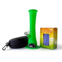 Противоударный силиконовый Бонг с сумкой для курения Зеленый Бро 23 см