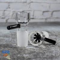 Стеклянная чаша для бонга 18,8 мм с встроенной черной сеткой и ручкой