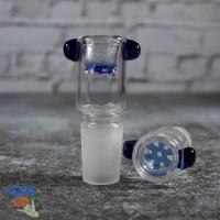 Стеклянная чаша для бонга Бочонок 19 мм с встроенной синей сеткой