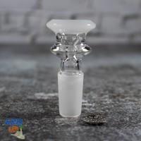 Стеклянный шлиф для бонга 14 мм Elegant Белый + несгораемая сетка!