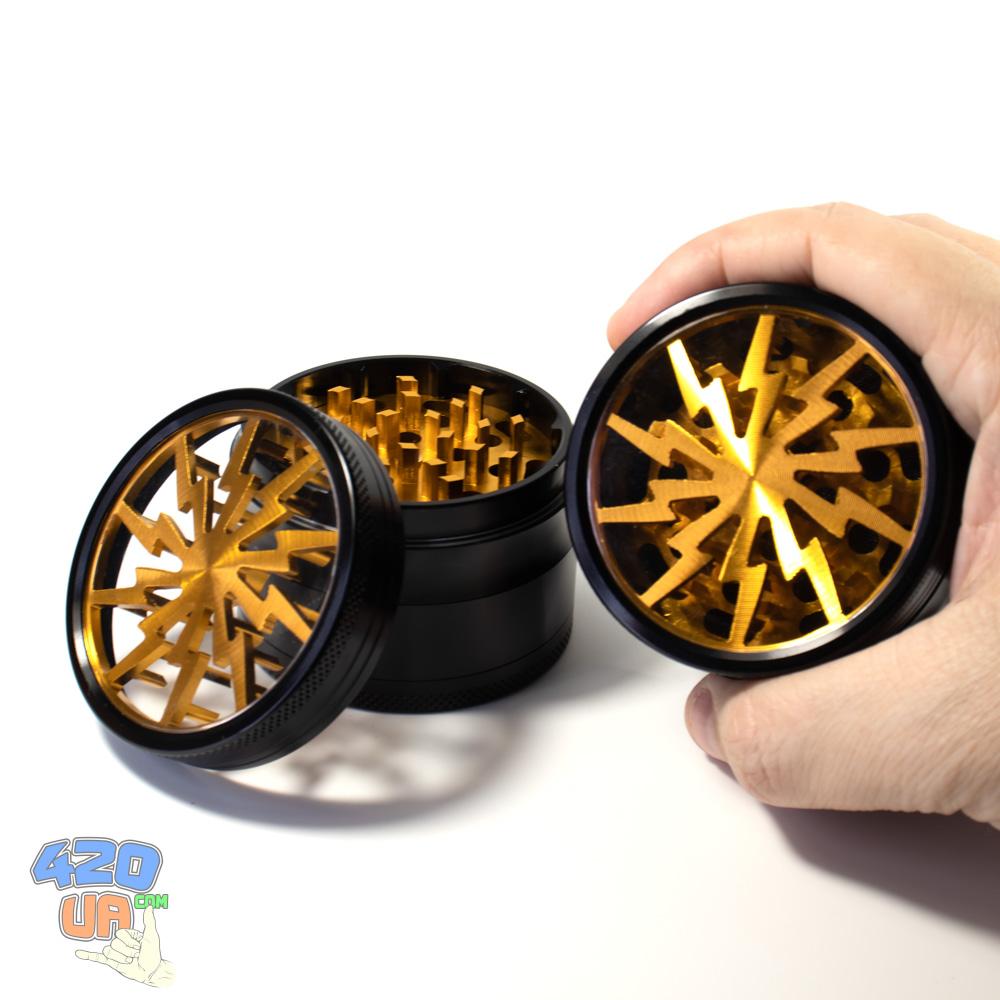 Большой Алюминиевый Гриндер для шишек Золотой Потрошитель Диаметр 63 мм