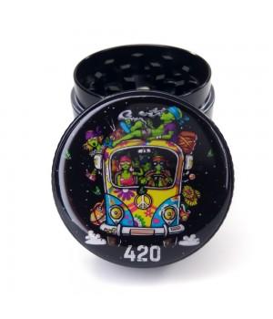 Гриндер для шишек Автобус 420 из металла 40мм 4 части Черный