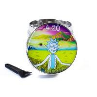 Ручной гриндер для травы 40 мм Rick and Morty Relax 420 Серебристый хром