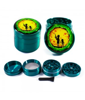 Зеленый крешер для травы Рик и Морти в закате 40 мм металл 4 части