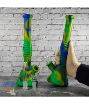 Курительный бонг силиконовый 31 см с Айс шипами и стеклянной чашей