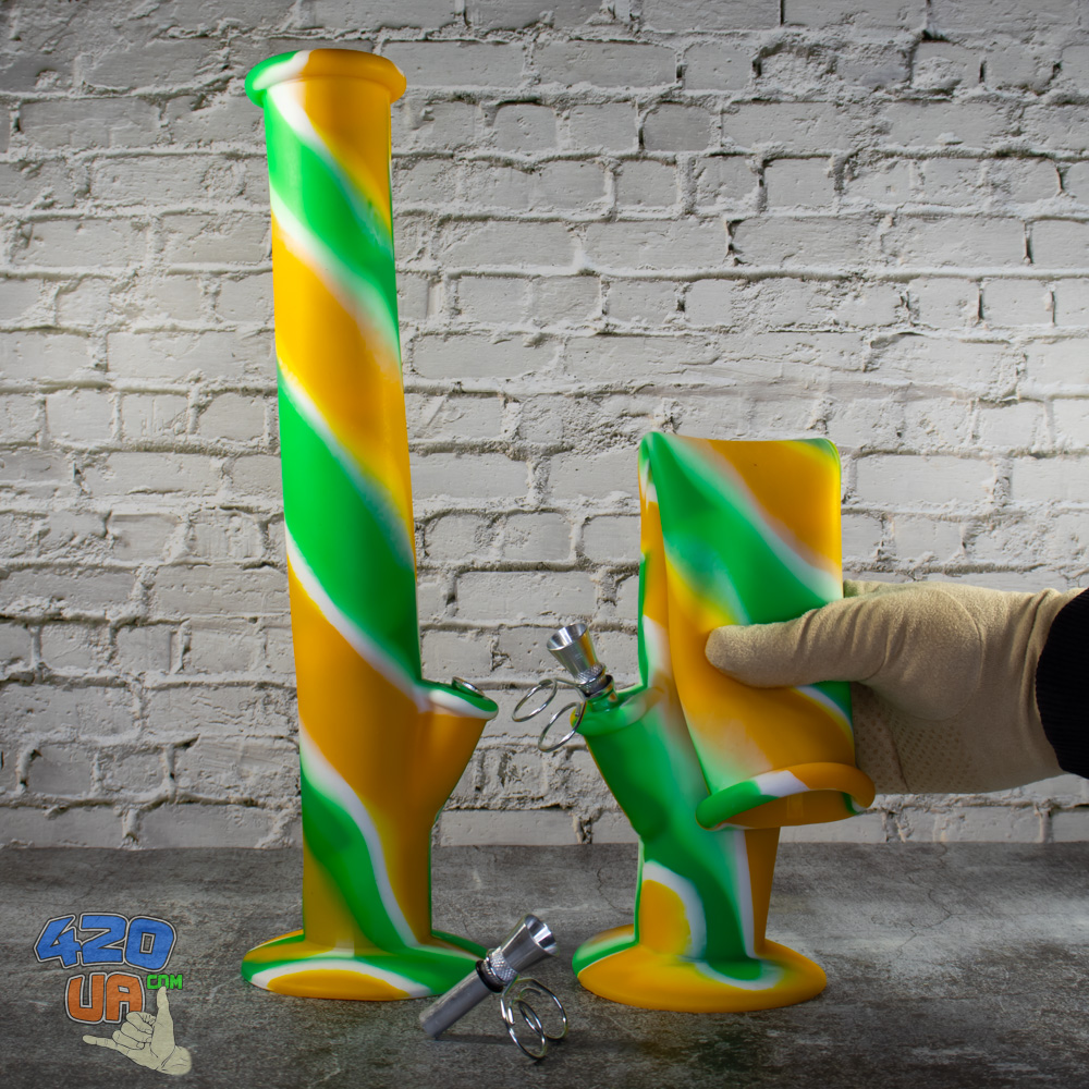 Курительный водный Бонг силиконовый Fresh Высота 35 см