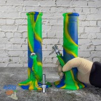 Небьющийся Силиконовый водный Бонг 23 см для курения Сине зеленый
