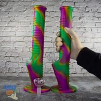 Силиконовый гибкий бонг 35см с стеклянной чашей для курения