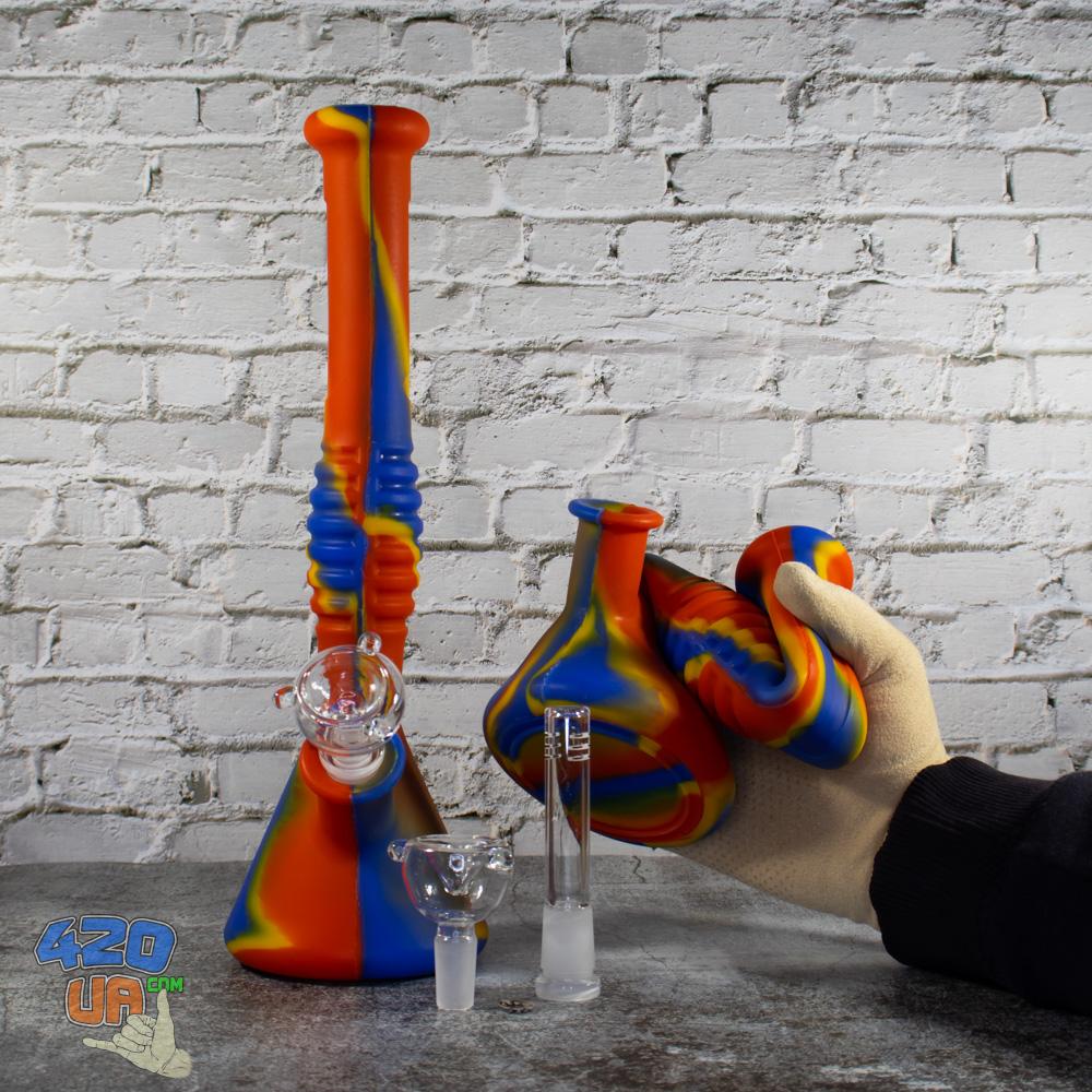 Складной бонг из силикона 31 см с стеклянной чашей и шипами для льда для 420 курения