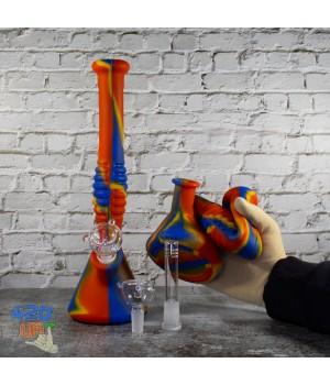 Складной бонг из силикона 31 см с стеклянной чашей и отсеком для льда