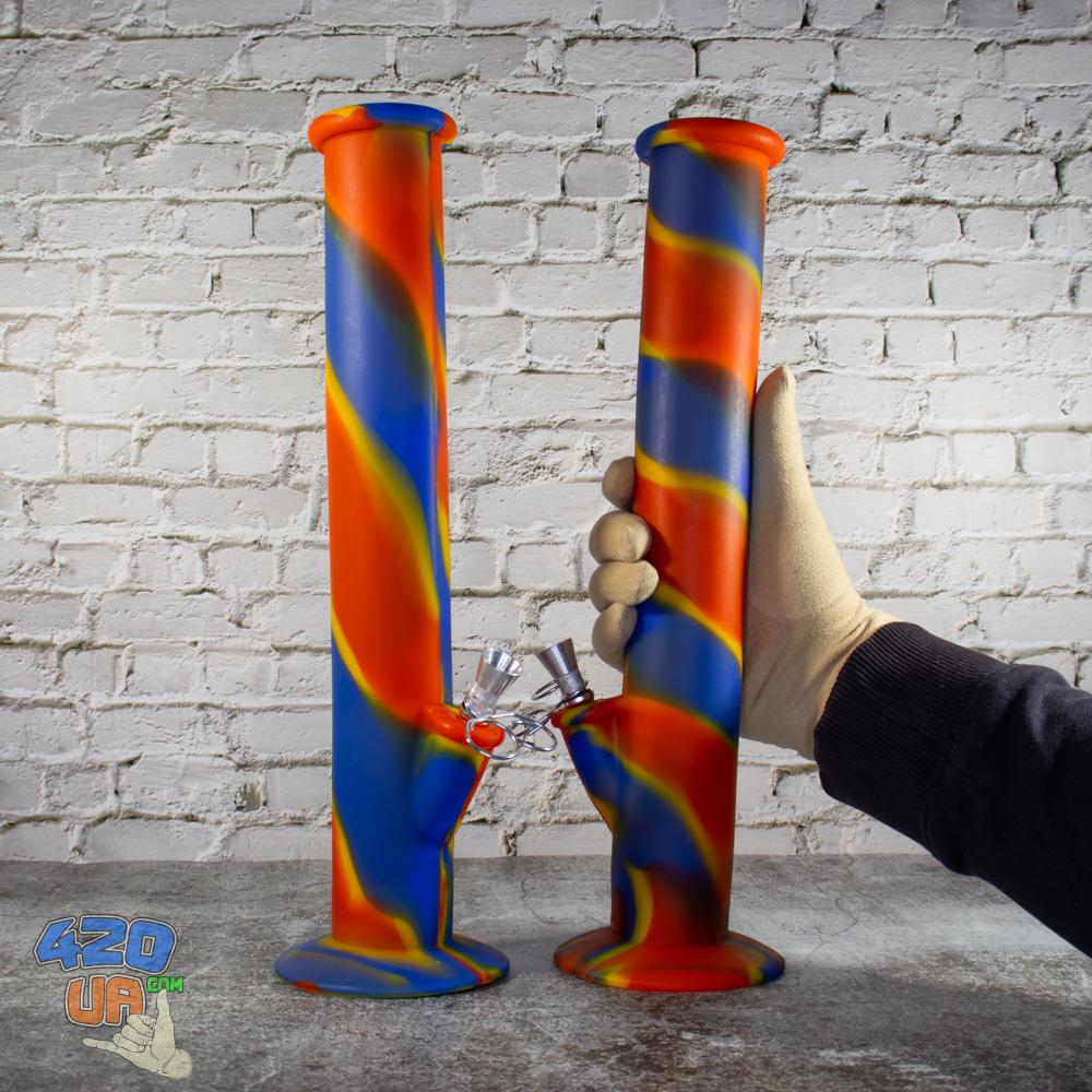 Высокий Резиновый цветной Силиконовый Бонг 35 см для 420 курения