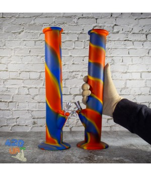 Высокий Резиновый цветной Силиконовый Бонг 35 см для курения