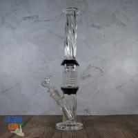 Красивый стеклянный бонг Crystal 33 см с восьми рукавным перколятором
