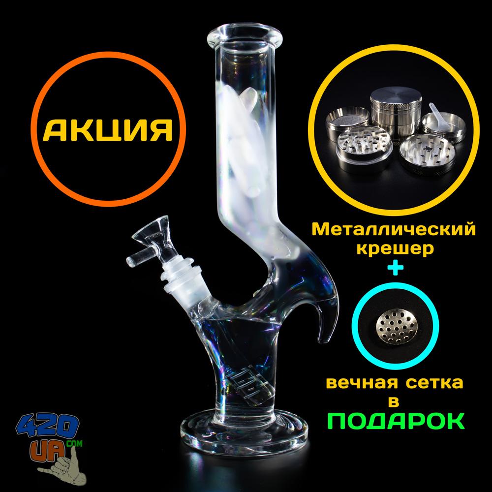 Стеклянный бонг для курения RPG с перламутром Толстое стекло