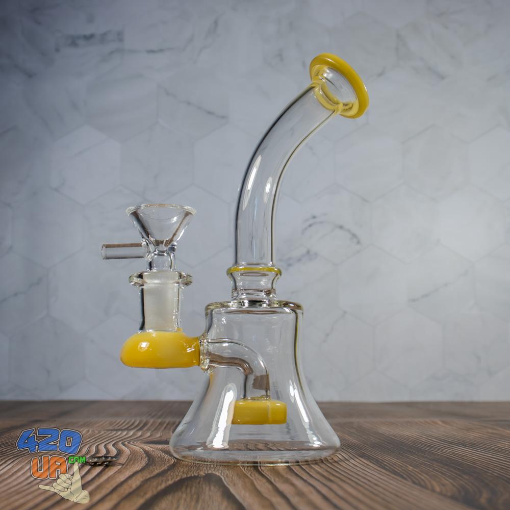 Стеклянный курительный  баблер Little Smoker желтый 17 см
