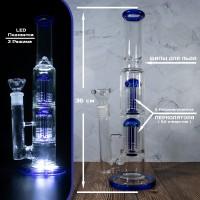 Стеклянный LED бонг для курения 36 см с двумя перколяторами и шипами для льда