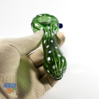 Стеклянная курительная трубка 13 см Зеленая для шишек с кик отверстием