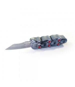Газовая Зажигалка Нож выкидной Черепа Серебрянная Турбо пламя
