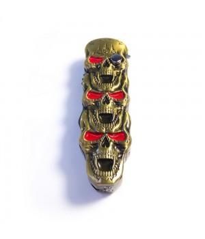 Турбо Зажигалка Нож Выкидуха 2 в 1 Золотые Черепа  Газовая