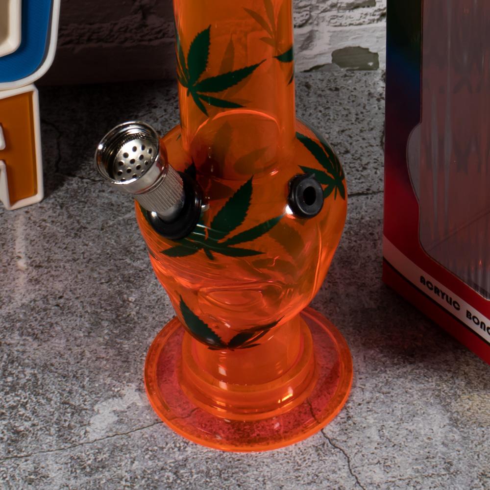 Бонг для курения 20 см Пришелец 420 из акрила с листьями травки