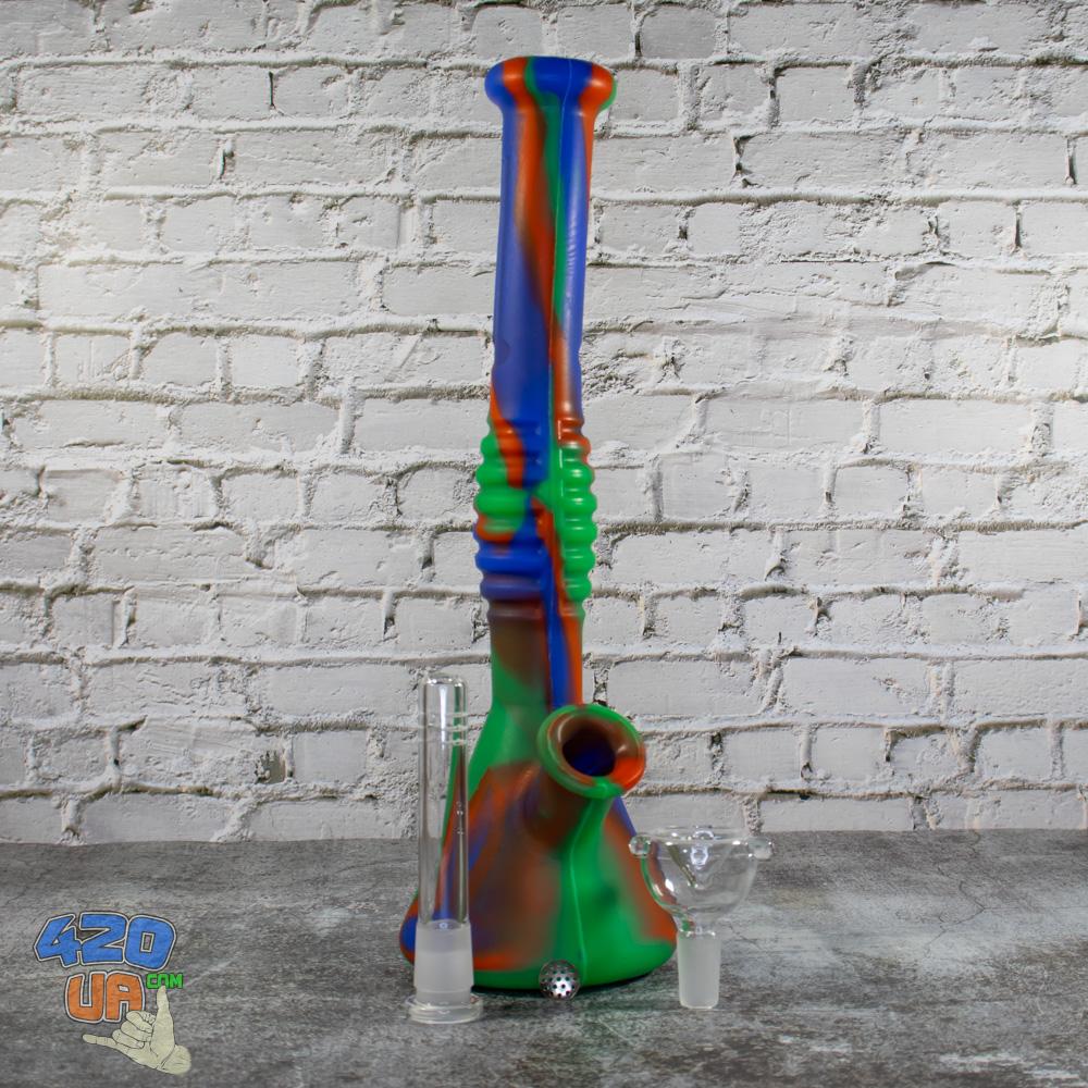 Силиконовый Бонг для курения 31 см с айс шипами для льда и чашей из стекла