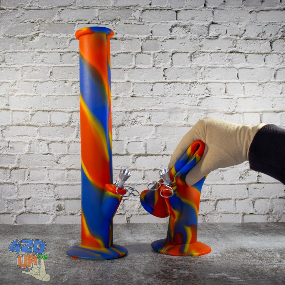 Высокий Резиновый цветной Силиконовый Бонг 35 см для курения конопли