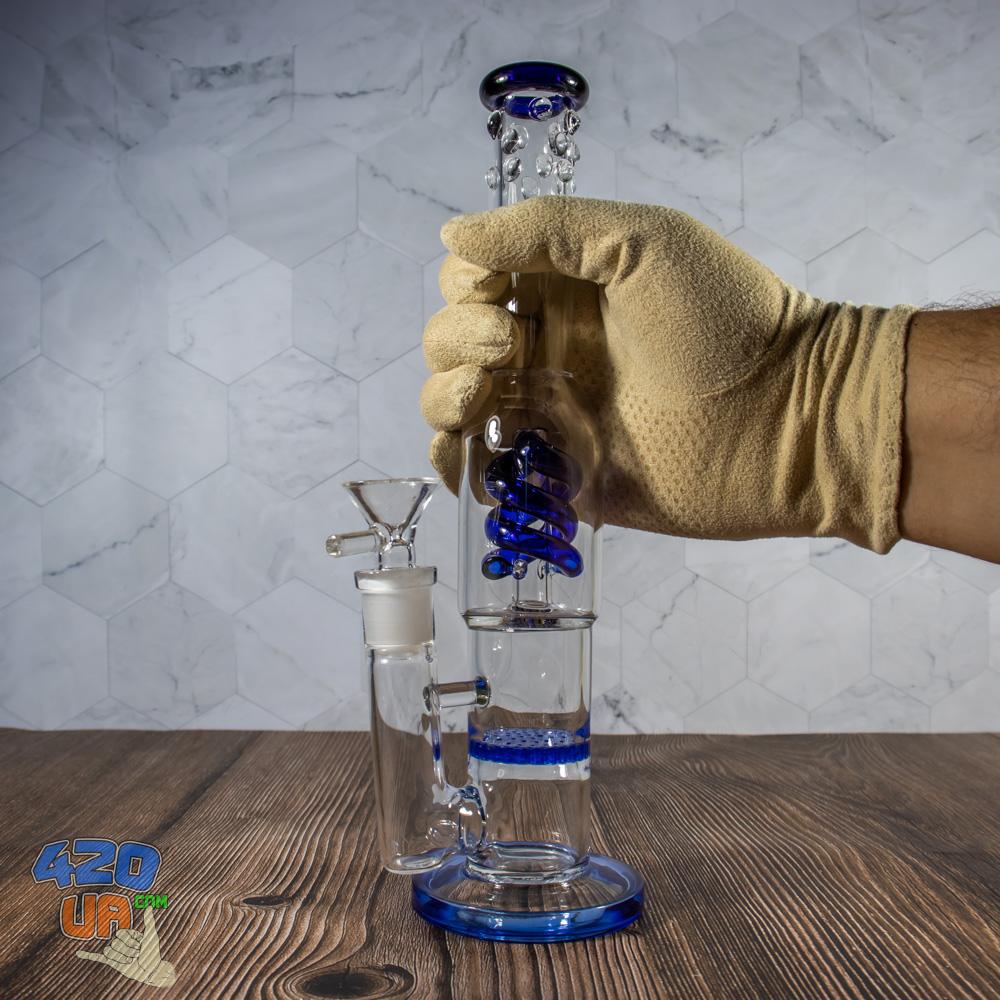 Бонг стеклянный Jungle  Синий 26 см с спиральным и Honeycomb перколяторами